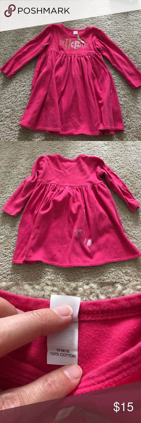 18 month pink 'Ho Ho Ho' appliquéd dress. Super cute with leggings. Has a bleach spot on the back of dress. Definitely 'play' wear but lots of life left. Dresses Casual