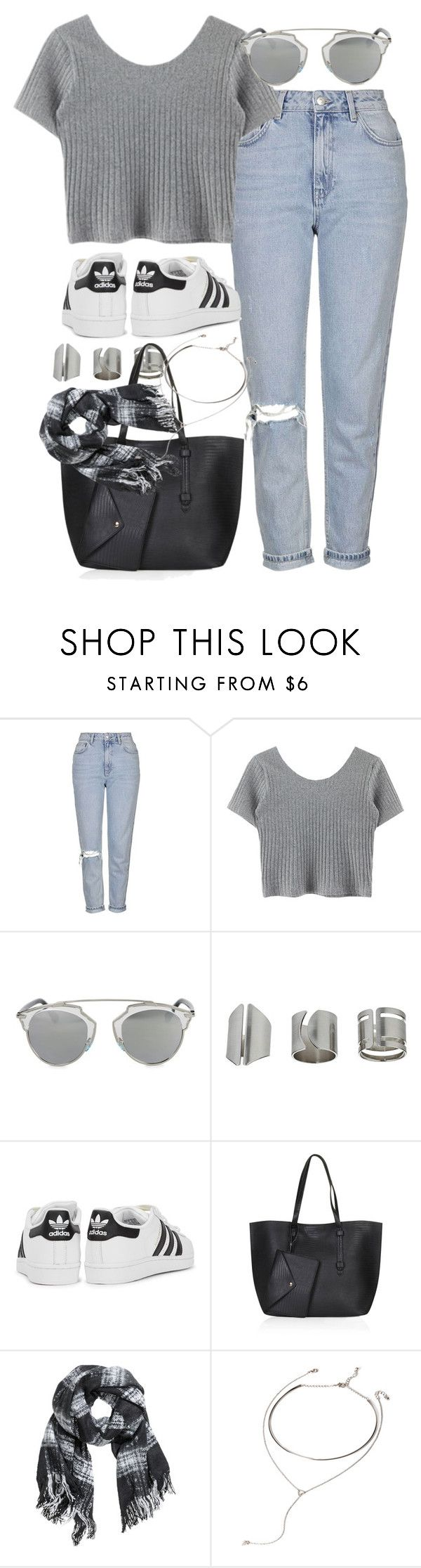 """""""Outfit for spring with mom jeans"""" by ferned ❤ liked on Polyvore featuring Topshop, Christian Dior, adidas Originals, H&M and Forever 21"""