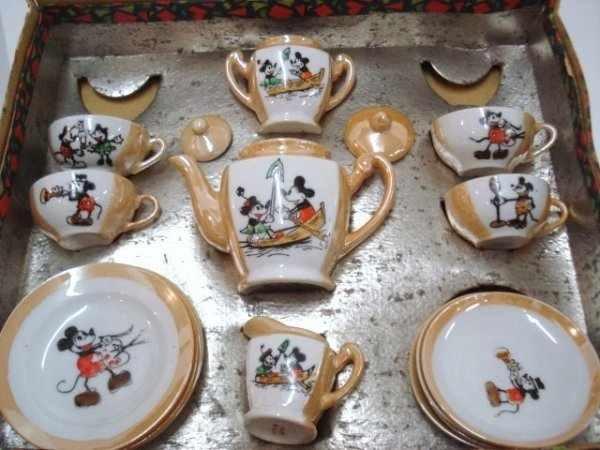 Vintage Lusterware Mickey Mouse Tea Party Set 1930 S