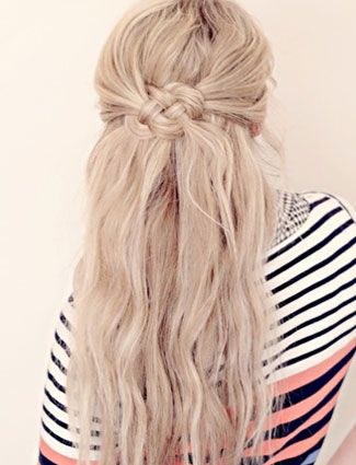 This woven knot gives a half-up hairstyle a nautical twist.