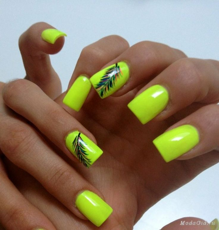 Neon Nails: Need to learn how to do that feather!
