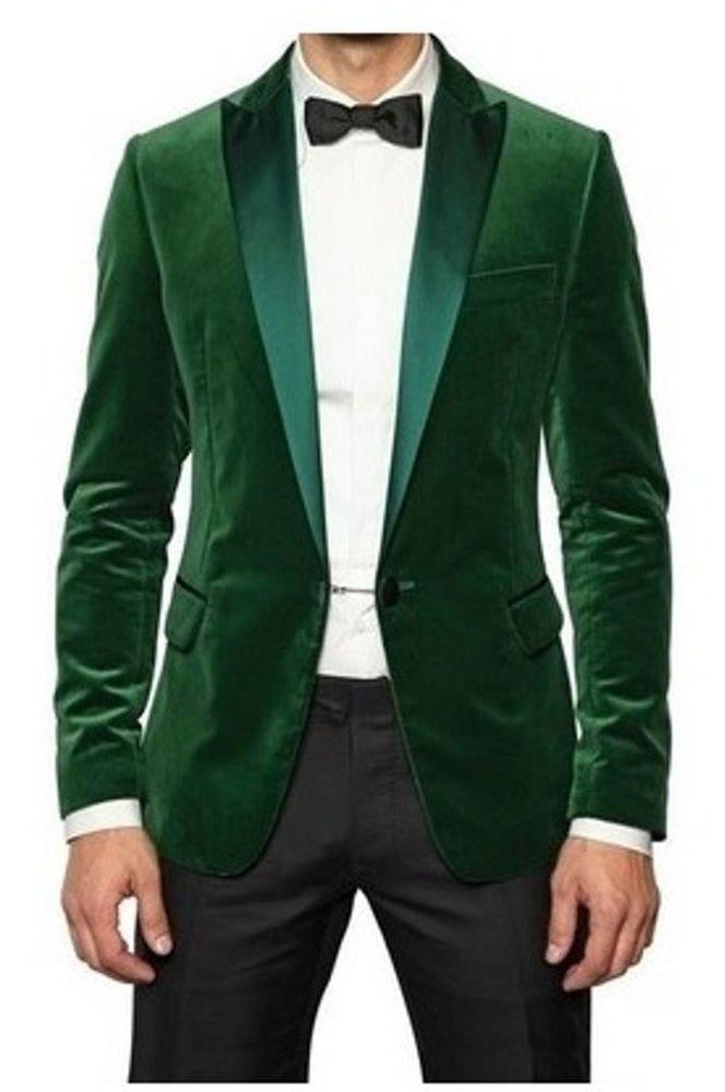 Mens Wedding Grooms Tuxedo Dinner Casual Green Velvet Coat Jacket Blazer  #Handmade #OneButton