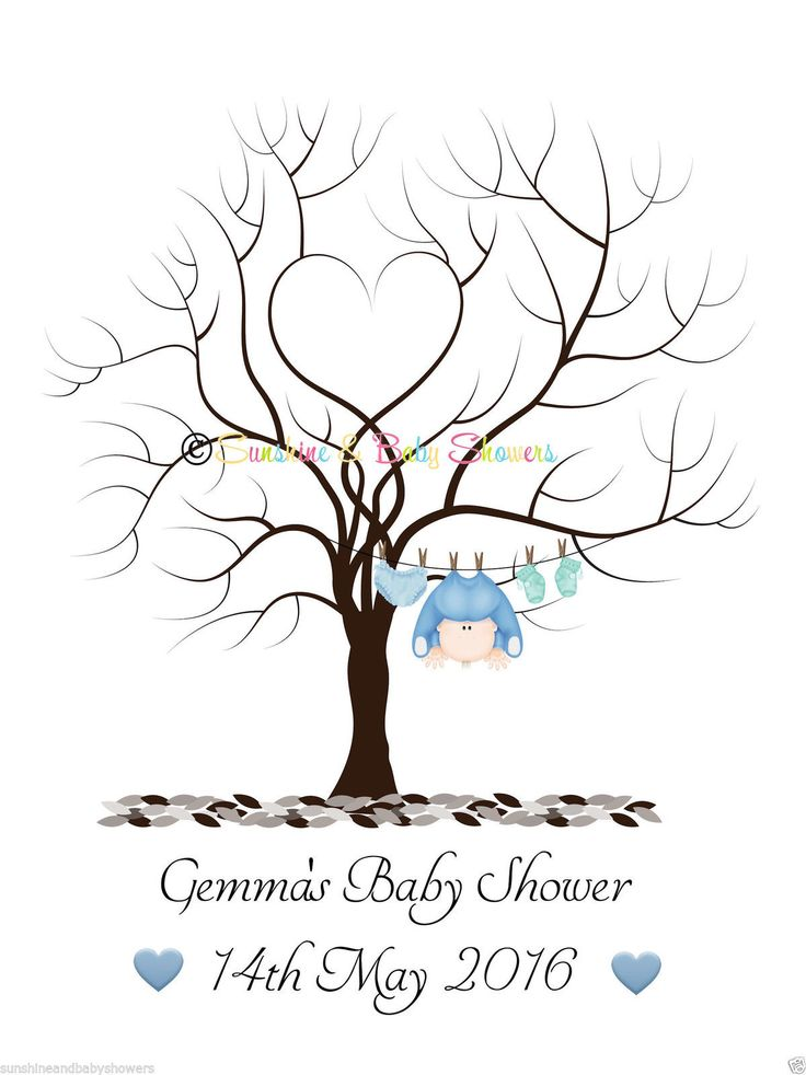 PERSONALISED A4 Finger Print Tree Baby Shower Guest Book * INCLUDES INK PAD * | eBay