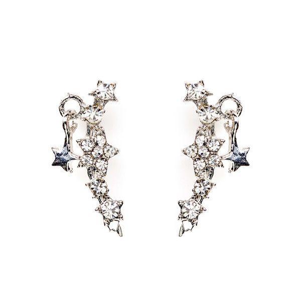 Starry Short Drop Earrings Silver
