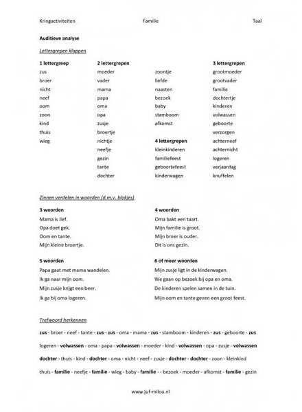 Kringactiviteiten ~ familie ~ taal