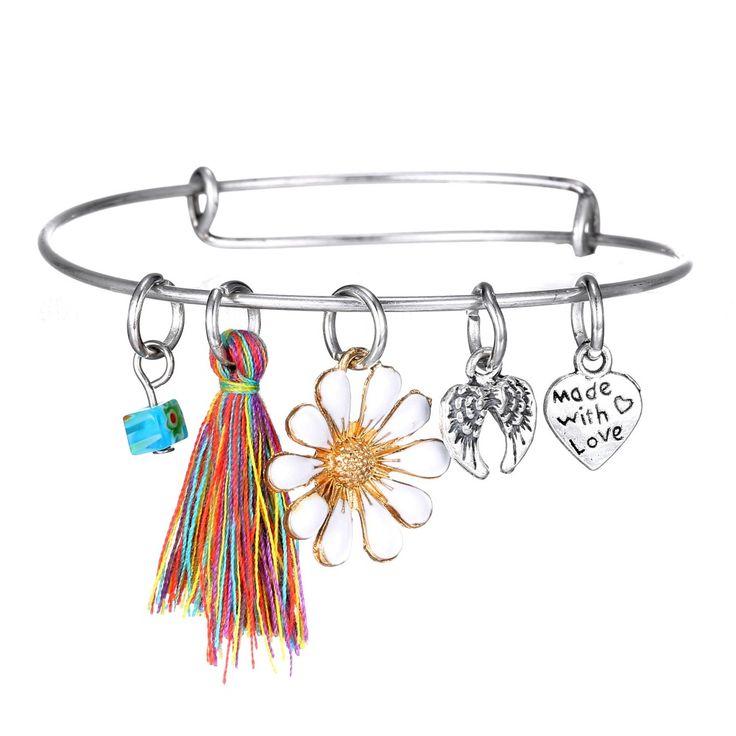 Женская мода регулируемая старинные кисточкой сплав слова в форме сердца подвески прелести браслет расширения провода браслеты женщины горячие ювелирные изделия