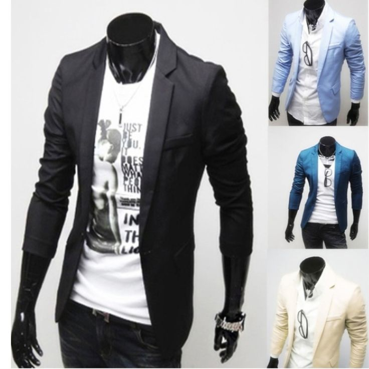 CLUB WEAR Casual Single Button Long Sleeve Men Suit Jacket Coat More