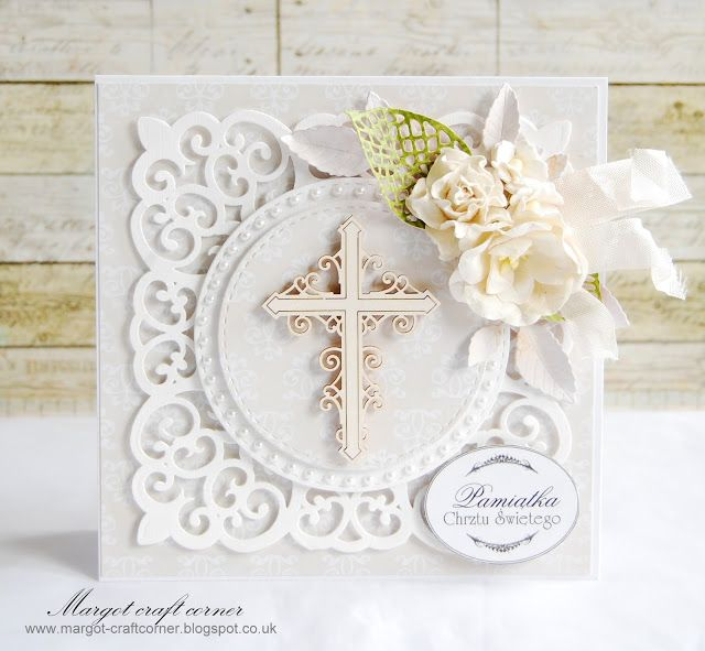 Stunning Christening card from Margot using products from www.scrapandcraft.co.uk #Christenting #flowers #ribbon