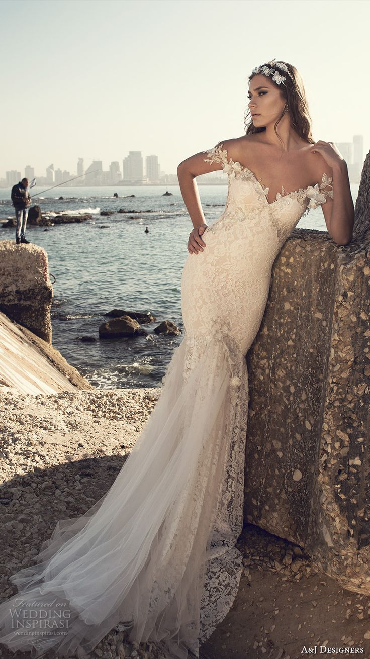 julie vino a j designers bridal s2017 off the should lace strap heavily embellished bodice tulle skirt sexy mermaid wedding dress low back…