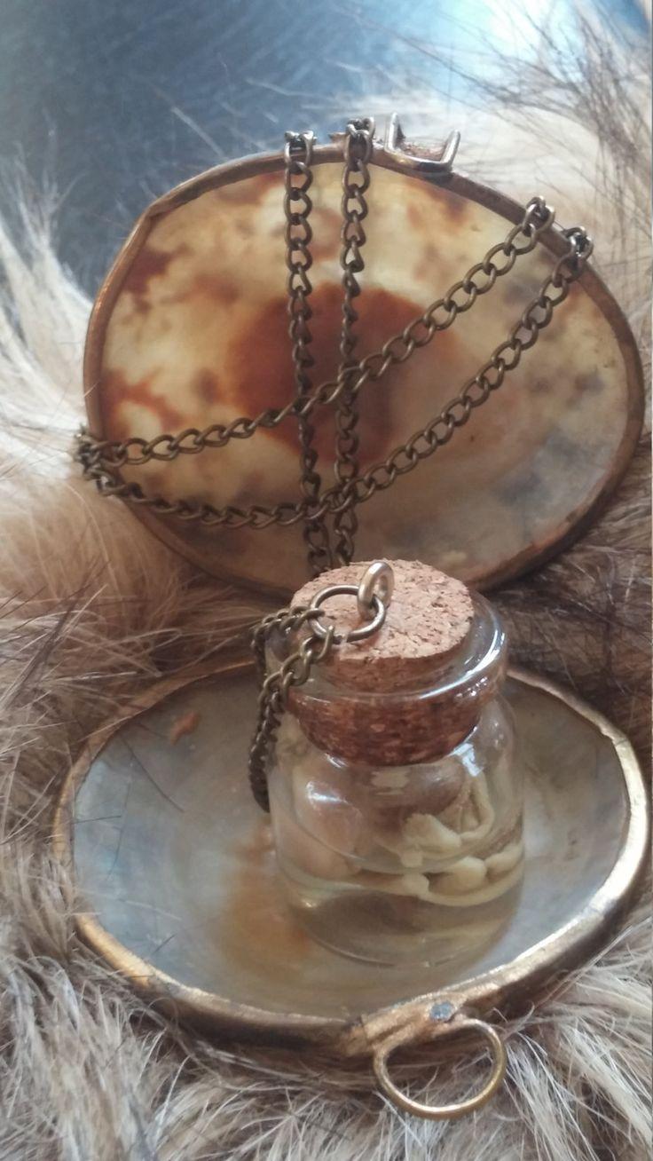 Fetal mouse glass jar pendant necklace wet specimen for Jardin glass jars