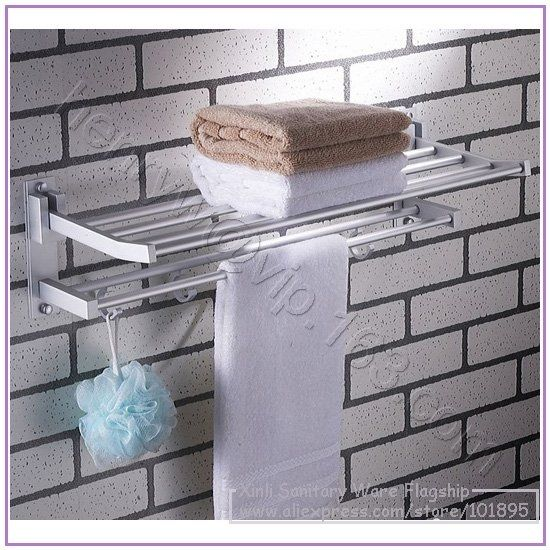 38.75$  Buy now - http://alic5t.shopchina.info/go.php?t=531367053 - Retail- Luxury Aluminium Towel Racks, Double Tier With Hooks Towel Holder Wall Mounted, Free Shipping L16680 38.75$ #magazineonline