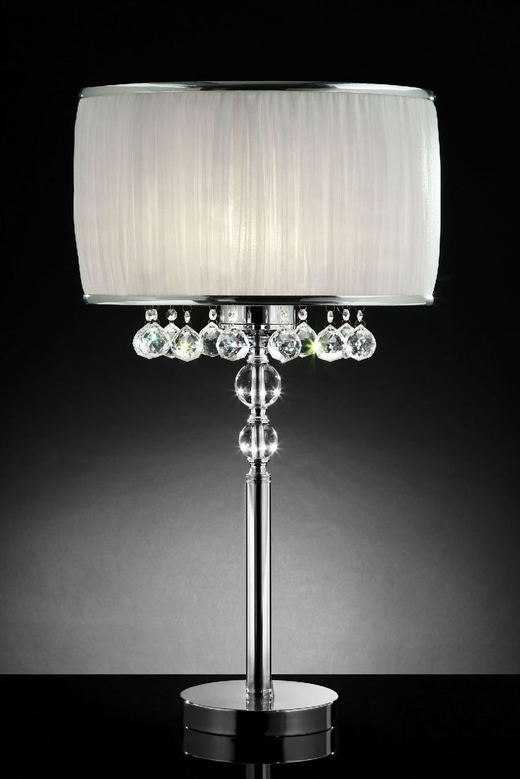 Yellow papillion lamp base by bungalow 5 rosenberryrooms com - Furniture Of America L95139t Table Lamp Round Metal Base With Dangling Crystal Balls And Pleated Ivory