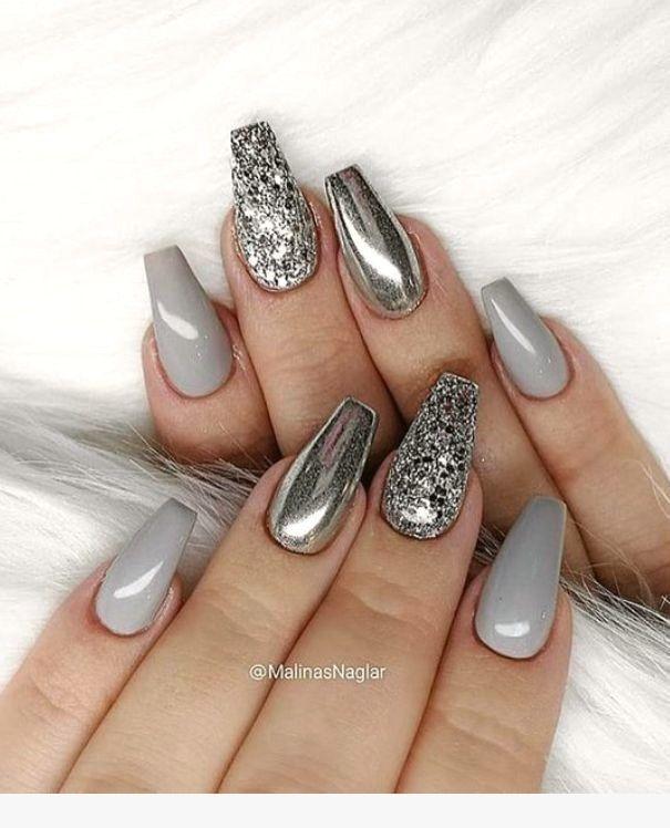 Nail Art In 2019 Silver Nail Designs Silver Nails Grey Nail Art