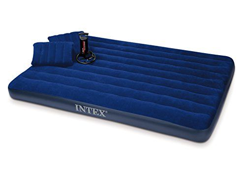 Intex Classic Downy Airbed Set with 2 Pillows and Double Quick Hand Pump, Queen - With plush flocking on the top, the Classic Downy airbed gives a more luxurious sleeping surface and helps keep bedding from slipping. Flocking cleans easily and is waterproof for camping use. Wave beam construction for a uniform sleeping surface. Quality tested 20.8 gauge waterproof flocked top ...