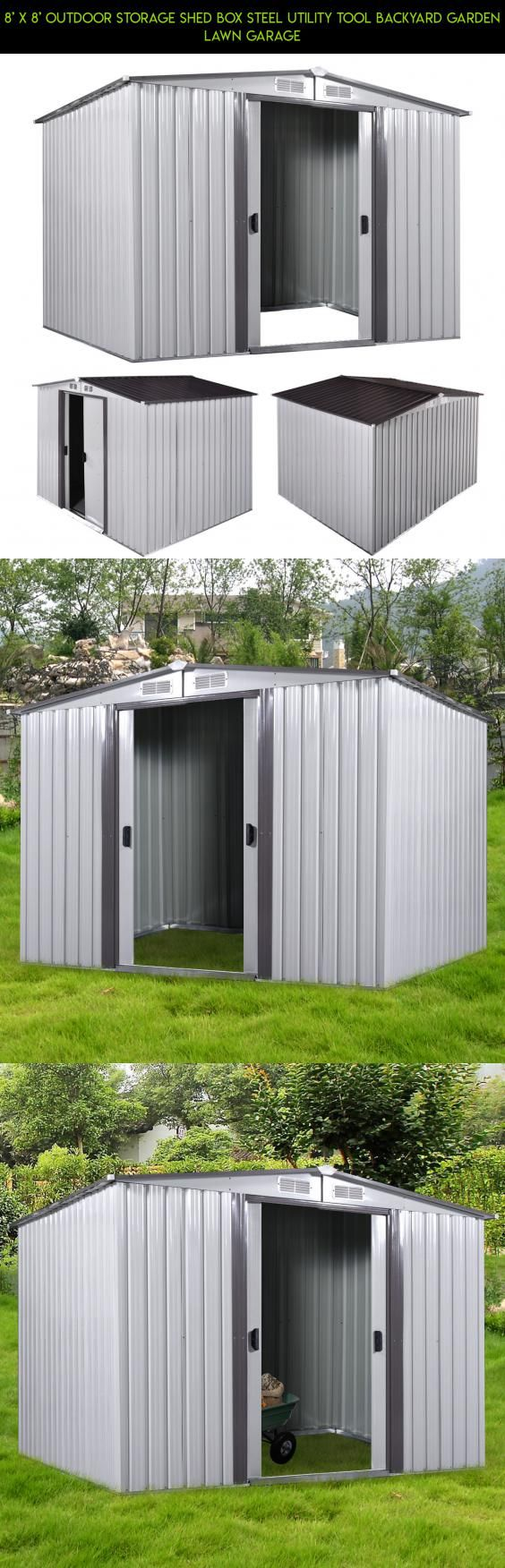 8' x 8' Outdoor Storage Shed Box Steel Utility Tool Backyard Garden Lawn Garage #tech #gadgets #8x8 #technology #parts #shopping #kit #drone #products #racing #plans #storage #fpv #camera