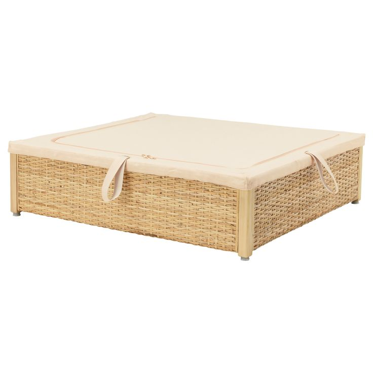 IKEA - RÖMSKOG, Underbed storage box, , Turns the space under your bed into a smart place for storing.Each underbed storage box has a unique look since it's made of braided rattan – a natural material which, together with the cotton-lined interior, keeps the contents fresh since air can circulate.The lid keeps dust out of the box.