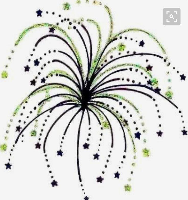 Green and black fireworks tattoo idea