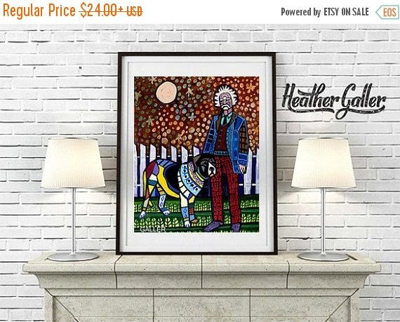 50% Off Today- Mark Twain - Celebrity With Dog Collection by Heather Galler (HG414)