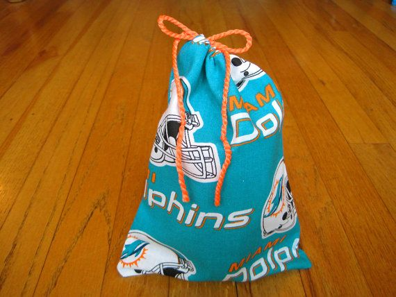 Sports Drawstring Bags 6x8 Handmade from Miami Dolphins COTTON Teal NFL pro Football team Pouch Birthday Party Treats Gift Gaming Dice Cards ~ Available on www.MaliakeiBags.com