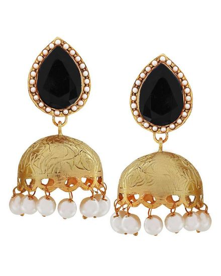 Indian Bollywood Jewelry Trendy Pearl Jhumki Earrings Black Maayra MY3792 - Maayra Women jewellery