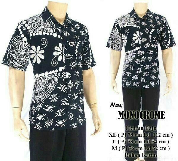 kemeja batik hitam monochrom material kain katun halus size : M L XL XXL Harga : Rp. 60.000