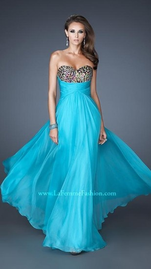 A beautiful blue chiffon dress with a sequined bodice, by La Femme.
