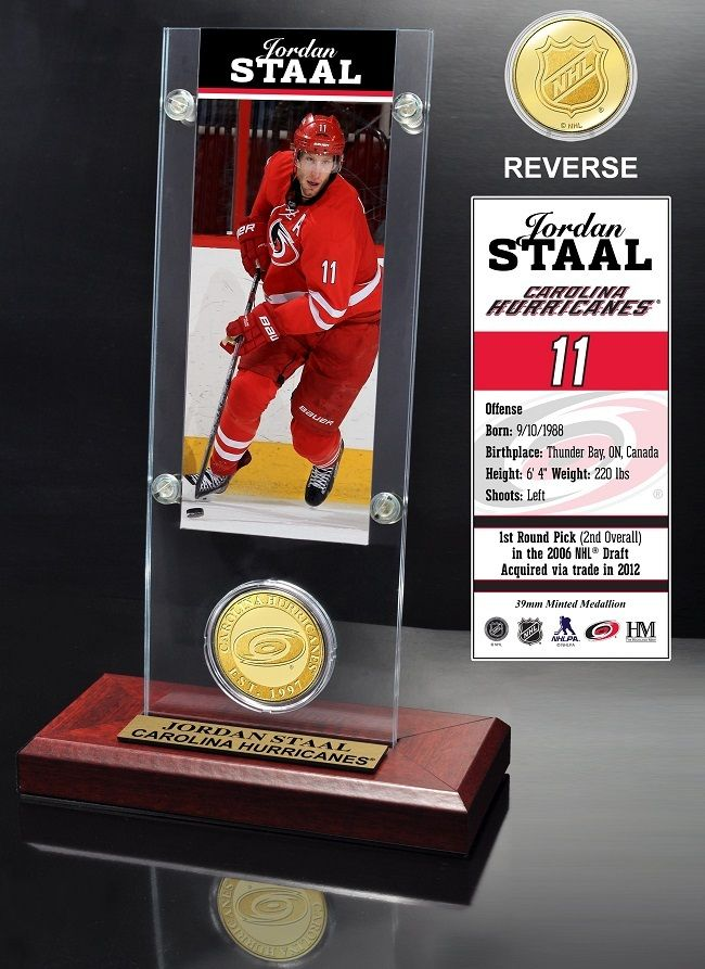 AAA Sports Memorabilia LLC - Carolina Hurricanes Jordan Staal Ticket and Bronze Coin Desktop Acrylic, $39.99 (http://www.aaasportsmemorabilia.com/nhl/carolina-hurricanes-jordan-staal-ticket-and-bronze-coin-desktop-acrylic/)