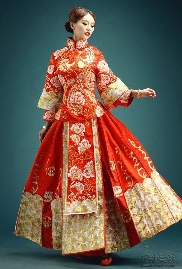 中式红色秀禾服龙凤褂新娘礼服http:/...