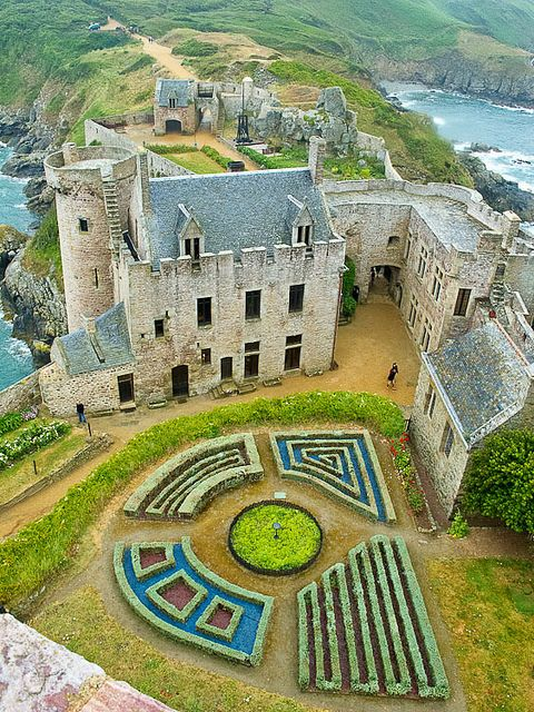 Castle of La Latte in Brittany, France.  This impressive castle was built on a small piece of land at the Baie de la Fresnaye in the 13th century.