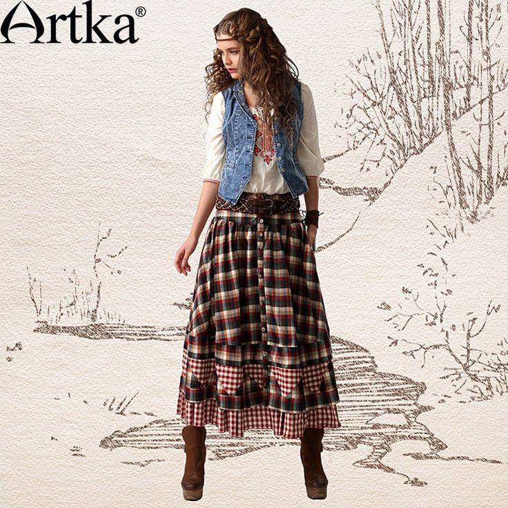 Купить Artka  ретро женская весеняя одежда этническая цыганская лоскутная высококачественная элегантная цветочная длинная юбка с большими качелями QA10442C и другие товары категории Юбки и женщин pantihoseв магазине ArtkaнаAliExpress. женщин сперри и ёенщины брючный