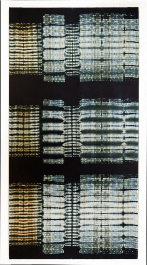 "Frank Connet ""Limestone ll"" Indigo and walnut dyes on wool using shibori sewn resist. Mounted on stretcher. 84"" X 43"""