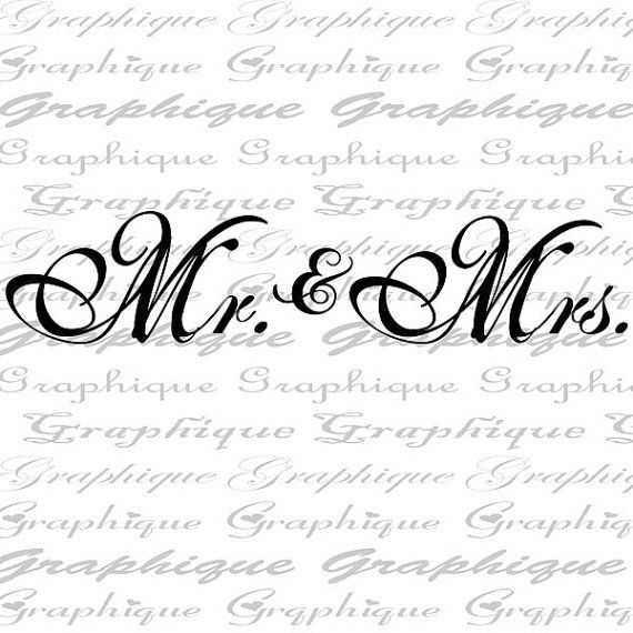 MR and MRS Text Fancy Calligraphy Word Digital by Graphique