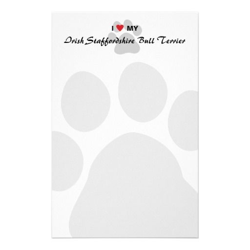 I Love My Irish Staffordshire Bull Terrier Stationery Design