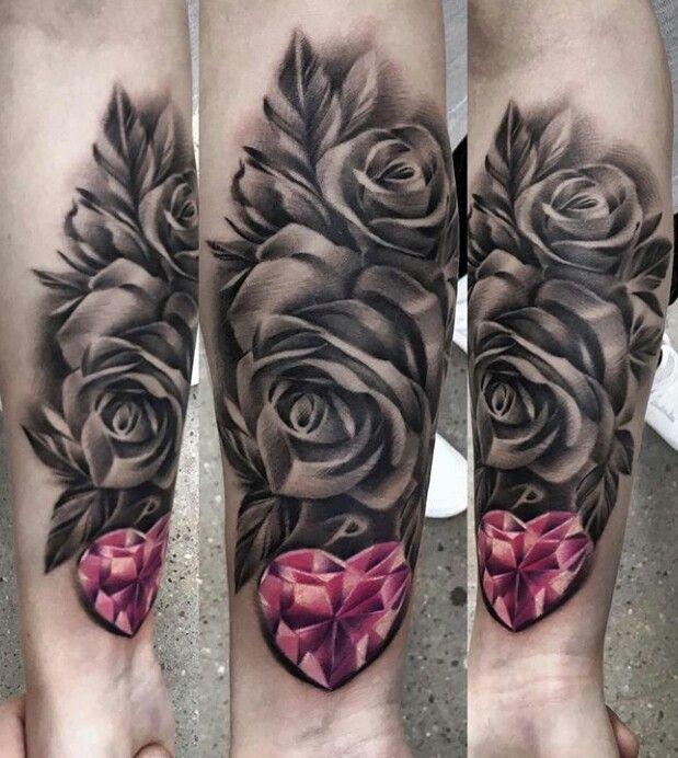 Pink heart Diamond, black and white rose tattoo