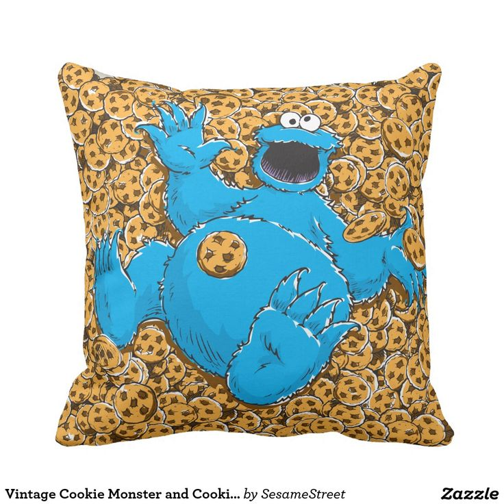 Vintage Cookie Monster and Cookies. Regalos, Gifts. #cojín #pillow