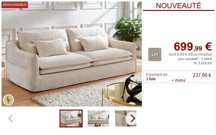 Canape 3 Places Adila En Tissu Lin Et Coton Coloris Blanc Pas Cher Prix Canape Vente Unique 699 99 Ttc Prix Const Canape 3 Places Decoration Maison Tissu Lin