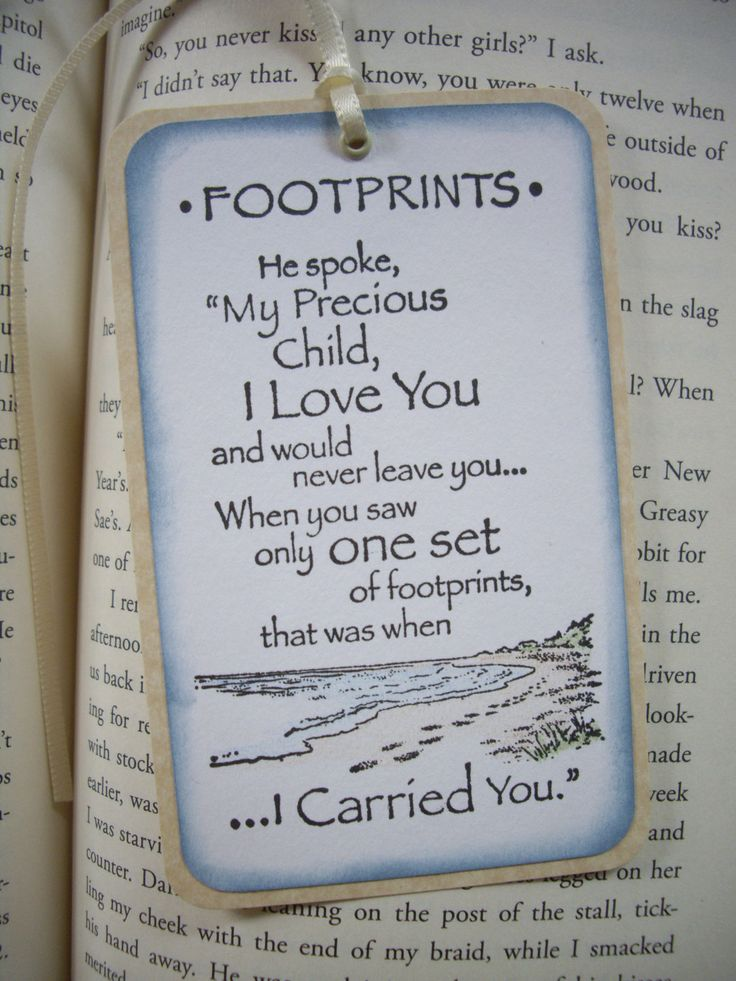 footprint poem bookmark, inspirational bookmark, religious bookmark, footprints in the sand, spiritual encouragement, religious bookmark by JDooreCreations on Etsy