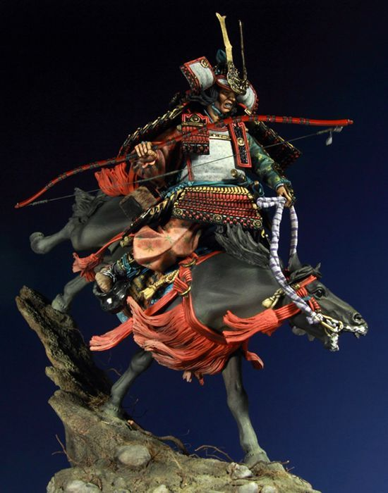 """Minamoto no Yoshitsune descending from the mountain path at Ichi-no-tani to attack the Tairas,during the Gempei War.""- Pegaso Models"