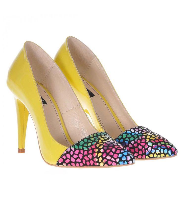 Pantofi Stiletto Piele Naturala Lacuita Galbena Imprimeu - Cod S189