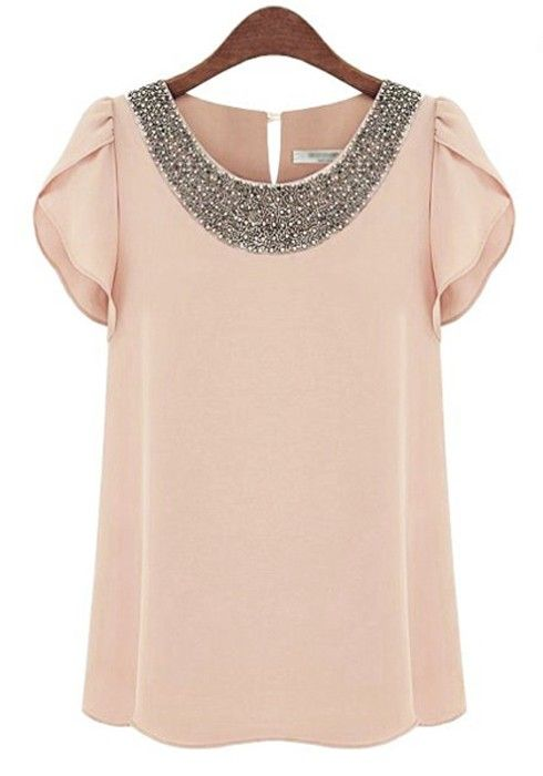 Would love this with a high-waisted skirt | Pink Plain Beading Lotus Sleeve Loose Chiffon Blouse $21.83 | CiChic