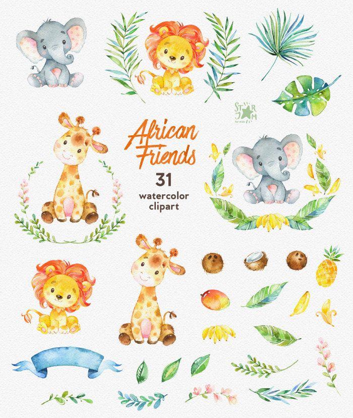 Amici africani. Clipart animali dell'acquerello Leone