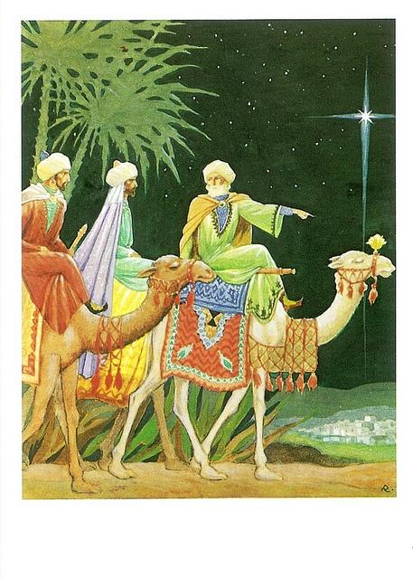 Vintage 3 Magi Christmas Card by Rudolf Koivu ~ Orange Details