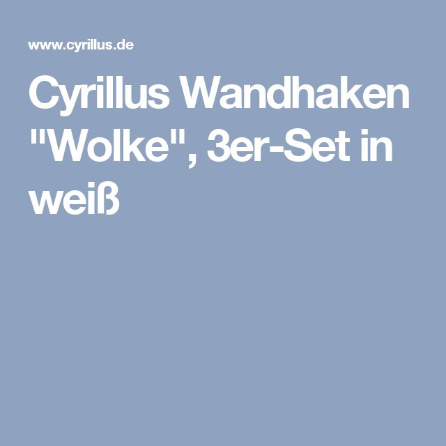 "Cyrillus Wandhaken ""Wolke"", 3er-Set in weiß"