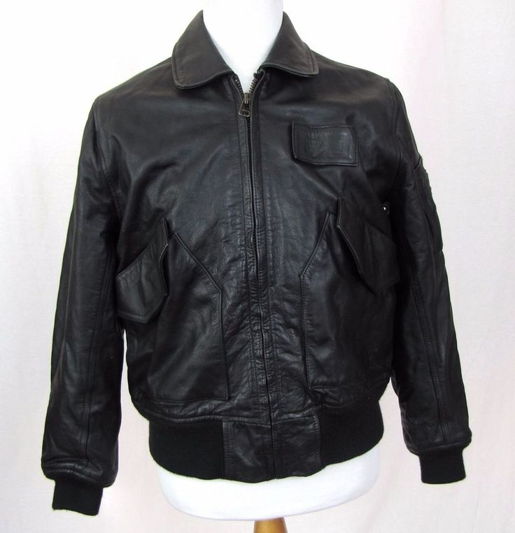 Alpha Industries Leather Jacket Medium Bomber CWU 45P Black Cage Code 3A382 Coat #AlphaIndustries #FlightBomber
