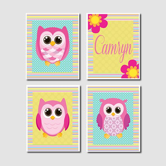 Adorable Personalized Name Girl Owl Nursery by LovelyFaceDesigns