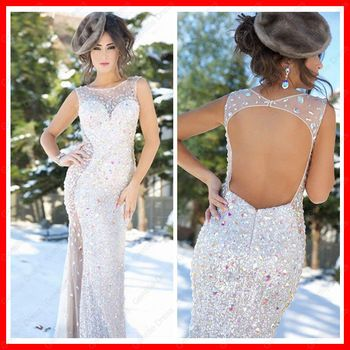 Mermaid Floor-length Sequined Tulle Sexy Backless See Through Sparkle Long Prom Dress 2014