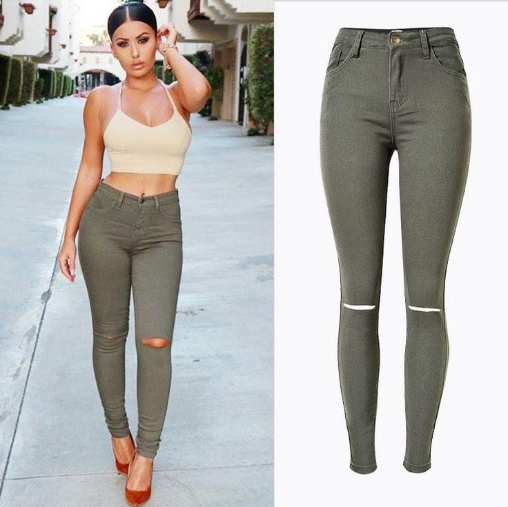 New Fashion Ladies Armee verte Slim Jeans dechires Skinny jean taille haute…
