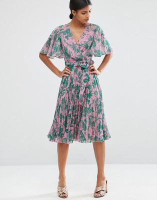 ASOS Pleated Midi Dress in Floral Print