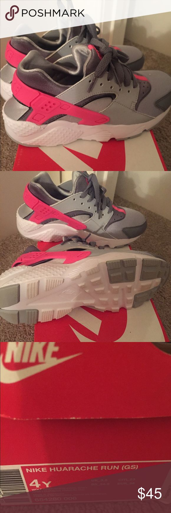Nike Huarache Run Girls Selected Style: Wolf Grey/White/Cool Grey/Hyper Pink Size: 4 grade school girls Nike Shoes Athletic Shoes