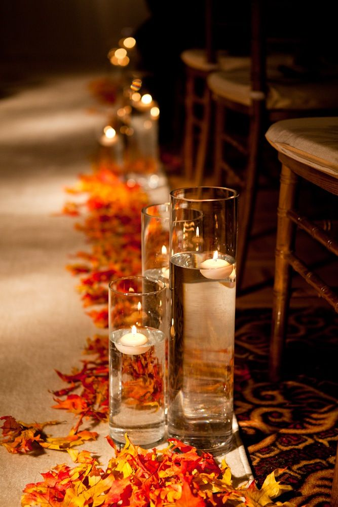 Floating candles for ceremony aisle. Autumn, fall theme wedding decor    OneWest Events Inc.
